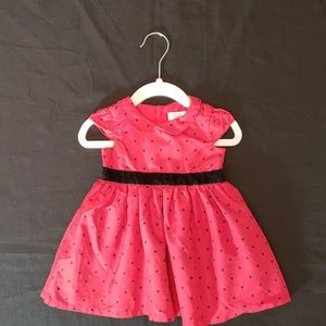Carter's red & black polka dot dress